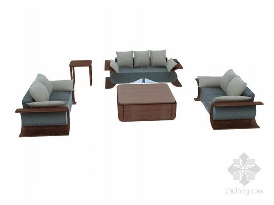现代沙发茶几3D模型下载
