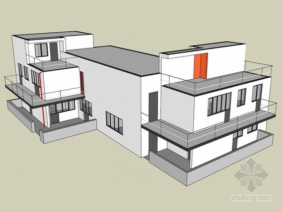现代低层建筑SketchUp模型下载