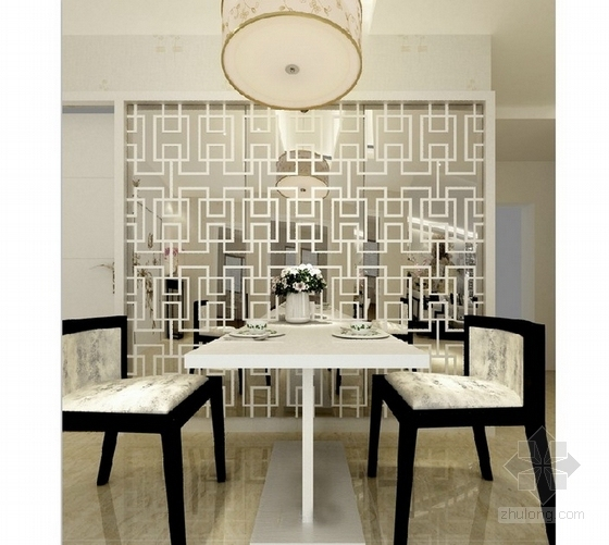 [湖南]高档样板房三居室设计CAD施工图(含效果)餐厅效果图