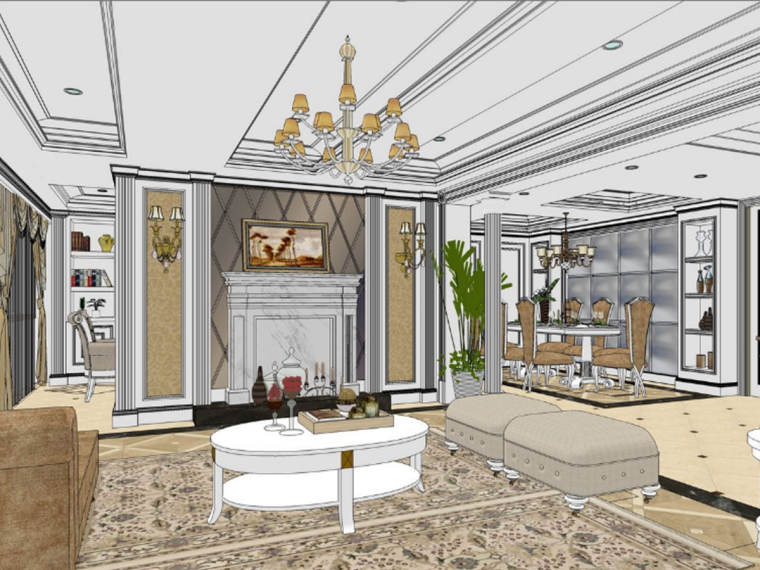 55款住宅别墅样板房室内设计精品Sketchup模型(上)