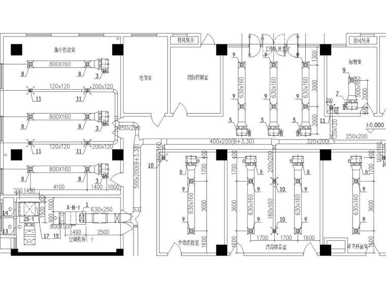 省级疾控中心实验室暧通全面施工图(舒适性空调设计、防排烟设计、通风设计)