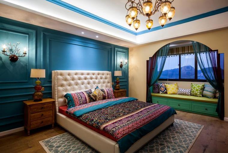 蓝色梦幻混搭风44平时尚都市小户型暖窝-蓝色梦幻混搭风 44平时尚都市小户型暖窝-大开间的空间设计中,卧室占据着第1张图片