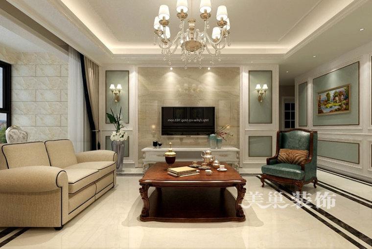 瀚海泰苑137平三室两厅美式乡村装修效果图