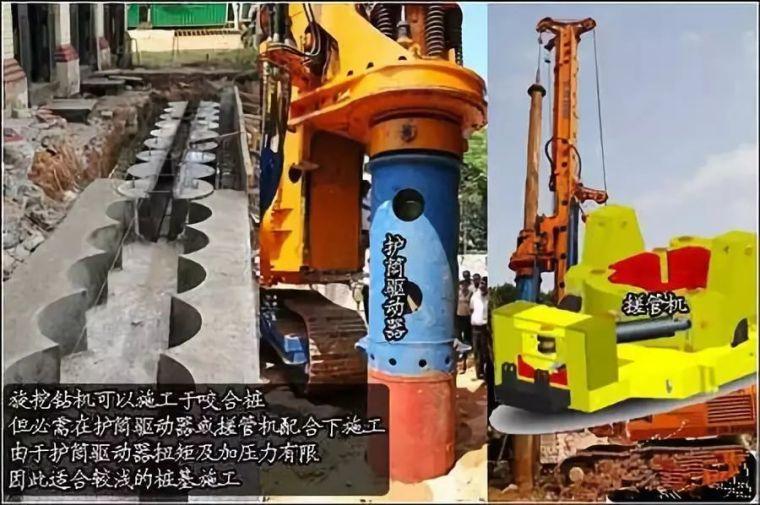 液压振动锤配合旋挖钻机做全护筒工法、咬合桩工法