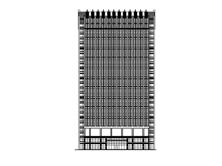 [宁夏]高层剪力墙结构综合写字楼建筑施工图(含水暖电专业)