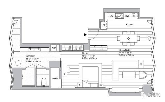 """万科200米高、61层的""""新地标住宅"""",1000-1600平方英尺的户型设_9"""