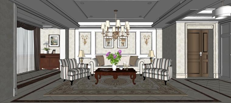 室内设计简欧风格客餐厅SU模型-07.客厅