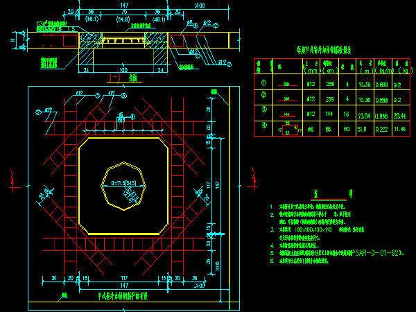 UPVC管与检查井连接图资料下载-甲式窨井加固钢筋设计图