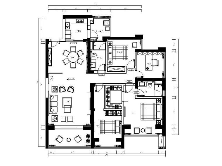 [广州]中式典雅三居室设计施工图(含效果图)