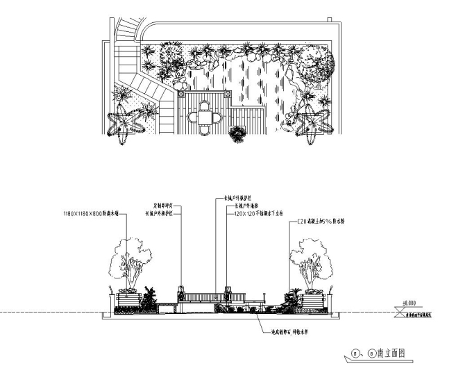 屋顶花园别墅庭院景观设计CAD施工图_5