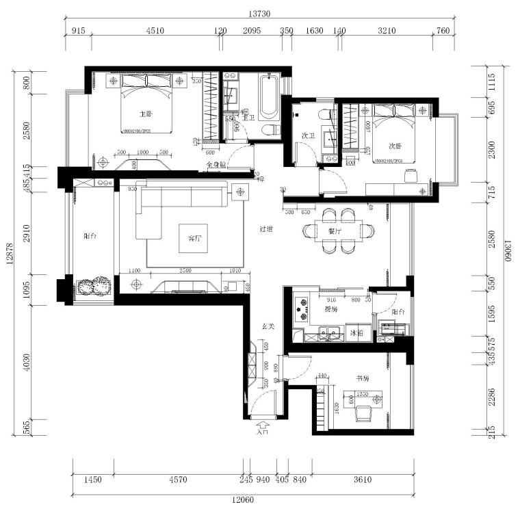 [安徽]现代简约风格二居室施工图设计(附3D模型+高清效果图)