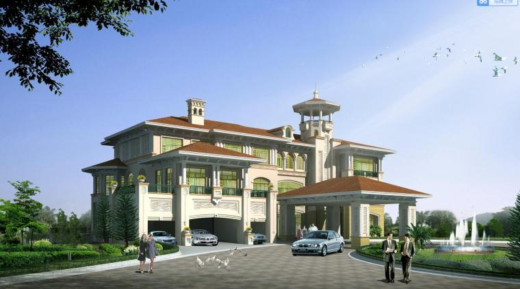 欧式风格三层建筑别墅设计(CAD+效果图)