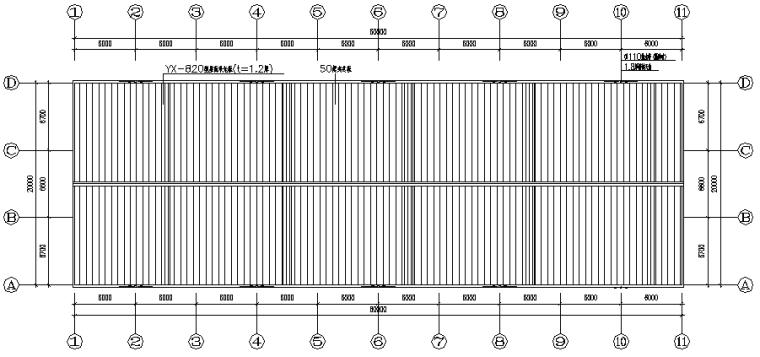 厦门单跨门式刚架钢结构工程(CAD,9张)