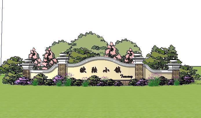 [景观SU模型]现代欧式景观墙围墙SU模型.skp