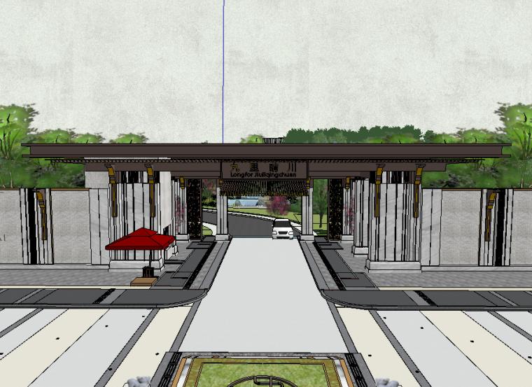 龙湖九里晴川居住区入口景观模型设计(新中式风格)