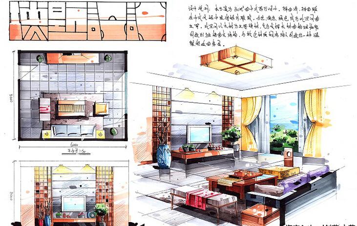 [室内快题设计]家装餐厅,客厅,书房,卧室高清手绘图图片