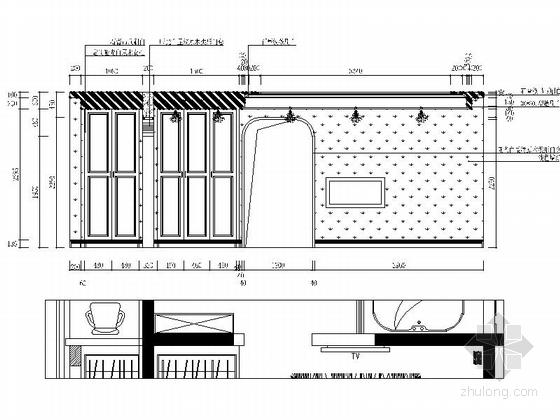 名师设计简欧风情跃层样板间CAD装修施工图(含效果)主卧立面图