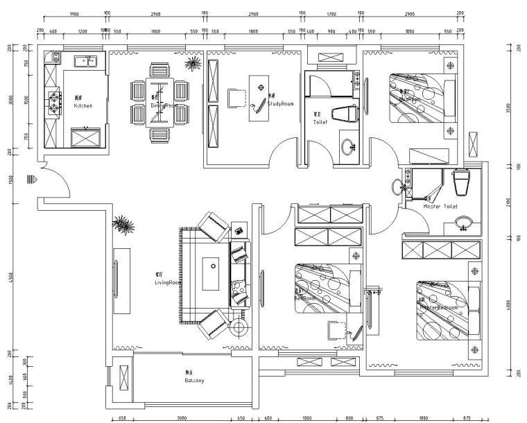 [河南]宏力新村商务广场样板房室内施工图设计(简约风格)