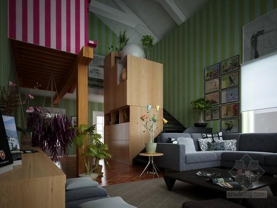 温馨跃式跃层家居客厅3DMAX模型