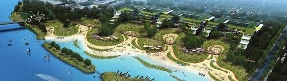 [美国]河滨城市修复景观设计方案-河滨城市鸟瞰效果图