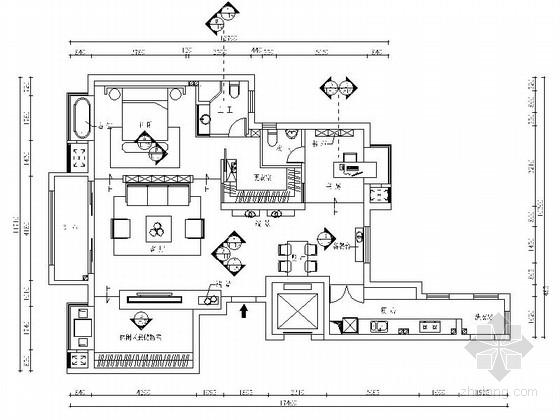 时尚现代工业风一居室样板间CAD装修施工图(含效果)