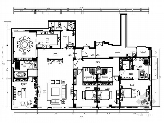 [福州]江滨精品欧式风格复式CAD装修图(含效果)