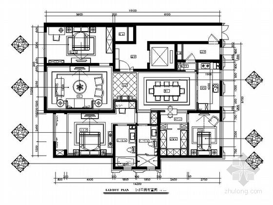 [内蒙古]轻奢欧式三居室室内样板间施工图(含实景照片)