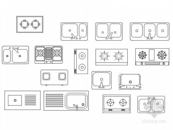 u型楼梯cad图块资料下载-各种厨房不同用品cad图块
