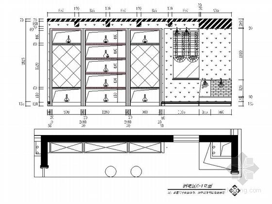 名师设计简欧风情跃层样板间CAD装修施工图(含效果)酒吧区立面图