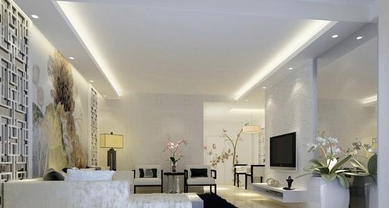 [湖南]高档样板房三居室设计CAD施工图(含效果)客厅效果图