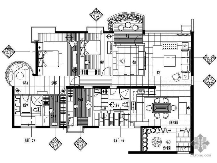 四室两厅样板房平面图