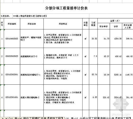 [四川]翡翠城二期会所装修工程清单报价