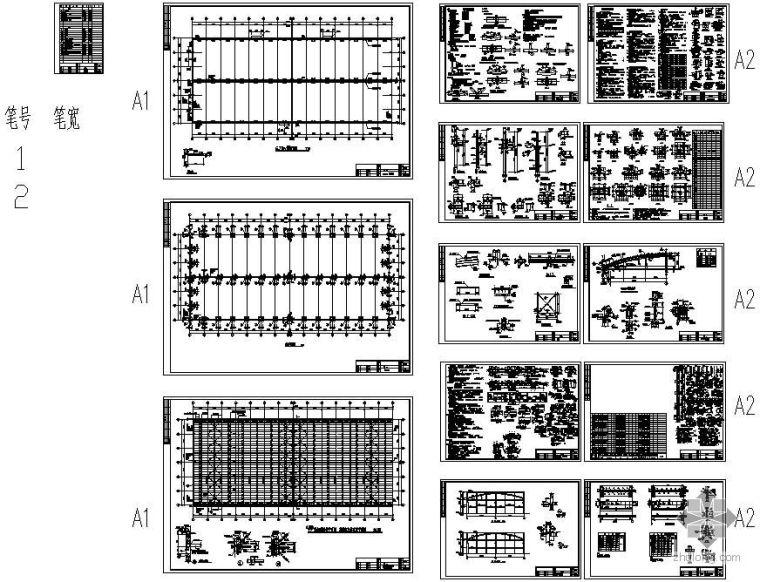 某厂房双管桁架钢屋架建筑结构图