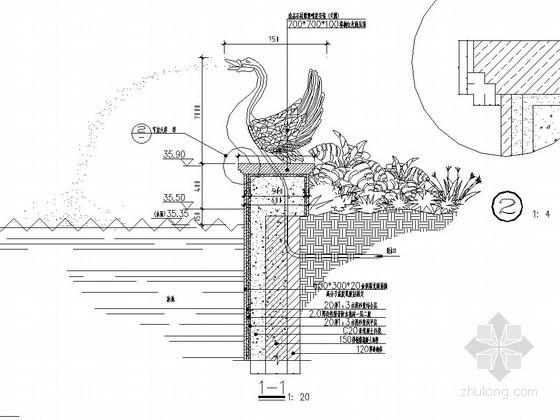 天鹅造型喷泉施工图