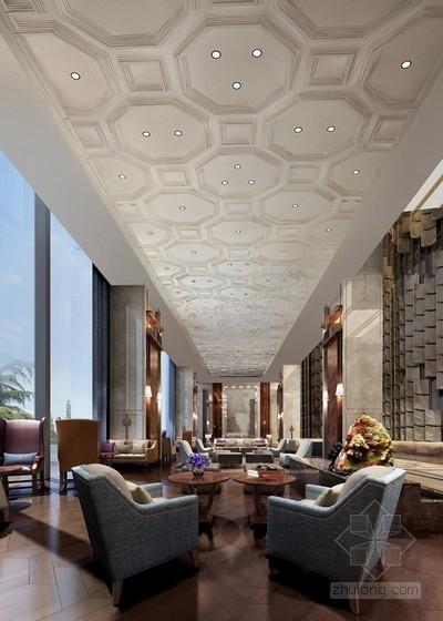 [福建]豪华五星级现代酒店室内设计成果汇报方案大堂效果图