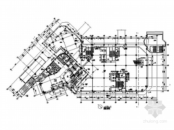 [南京]超高层铝合金墙面带底商研发办公楼建筑施工图-超高层铝合金墙面带底商研发办公楼建筑首层平面图