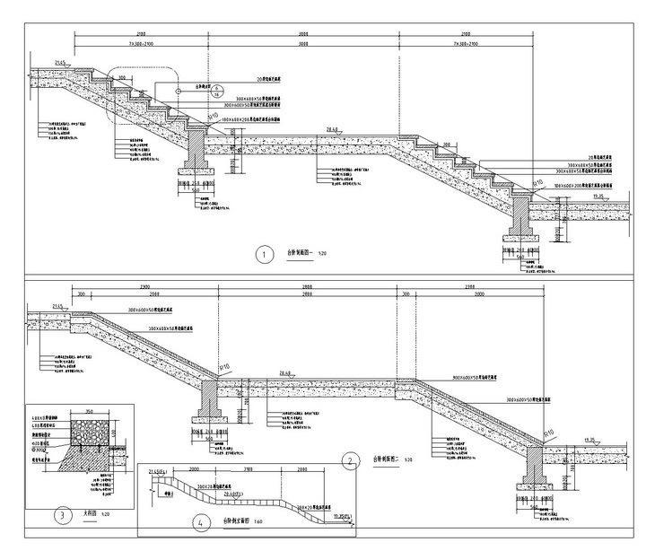 [武汉]高档居住区附属滨湖公园景观工程施工图-楼梯剖面图
