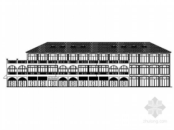 [四川]多层四坡屋顶瓦面交易中心楼建筑施工图(含水暖电)