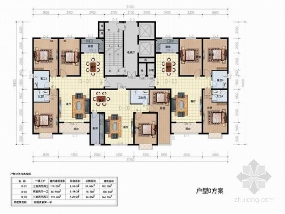 高层住宅一梯三户型平面图(108、142平方米)