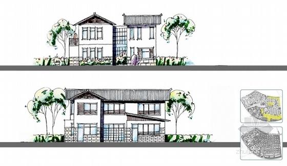 [云南]超五星级花园式酒店建筑设计方案文本(知名设计院)-超五星级花园式酒店建筑设计方案立面图
