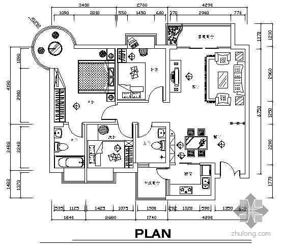 三房两厅装饰施工图纸