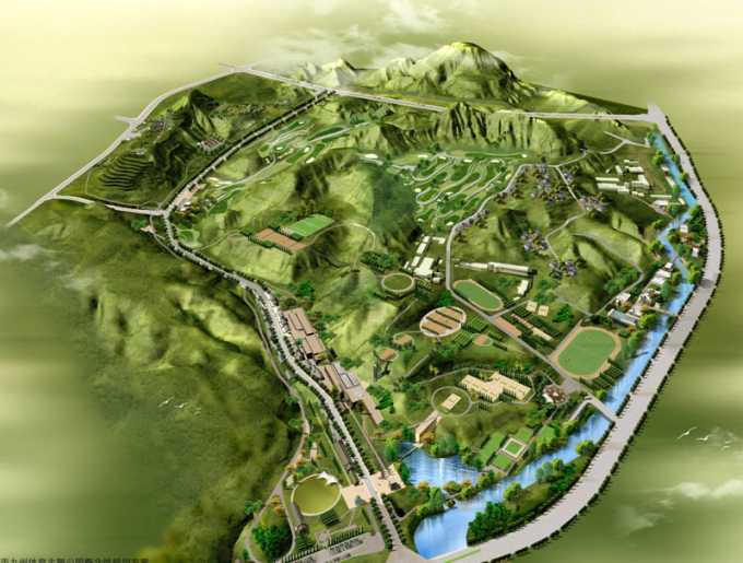 特色主题公园景观文本资料下载-[甘肃]黄土高原山水城市特色体育主题公园景观设计方案