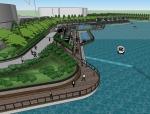 滨水广场景观SU模型