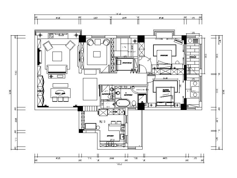 全套现代简约风格样板房设计施工图(含效果图)