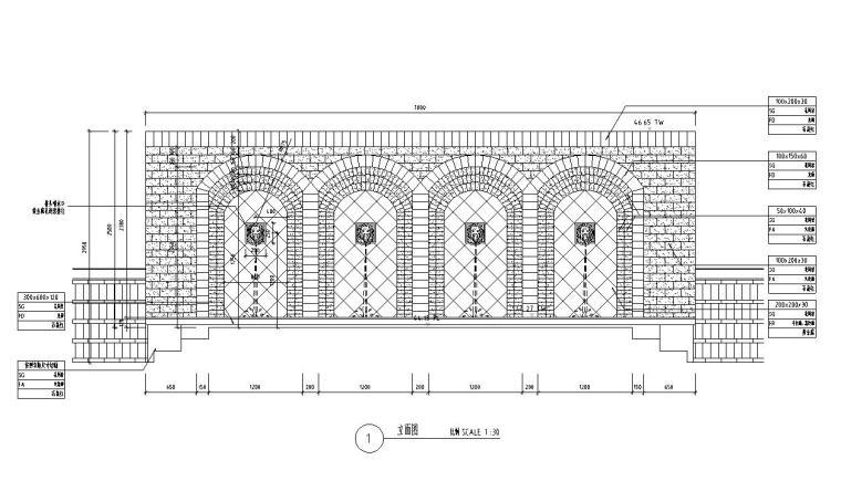 特色精品景墙详图设计(钢筋混凝+砖砌结构)