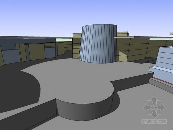 现代半地下建筑场景SketchUp模型