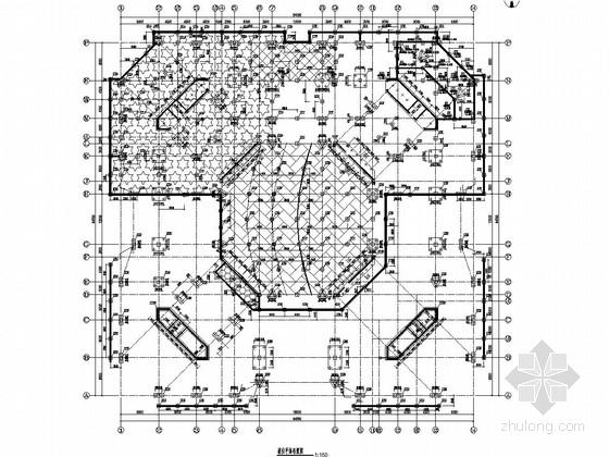 三层框架剪力墙结构城市展览馆结构施工图
