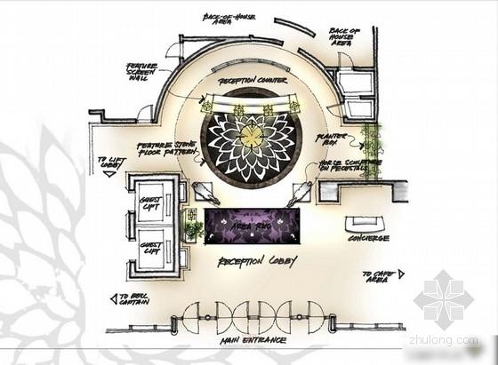 [越南]东南亚风格五星级酒店大堂及客房设计方案图