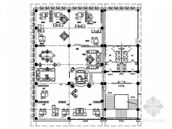 [内蒙]高档酒店区域内现代风格金融机构室内装修施工图(含效果)