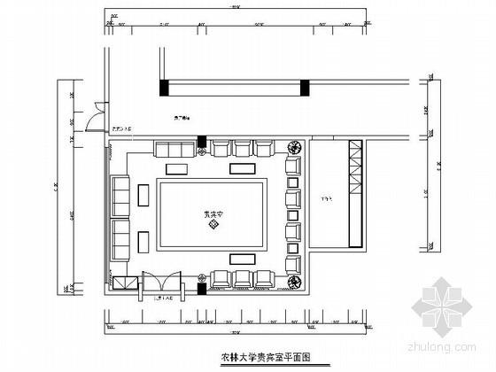 [福建]某大学精装贵宾室装修设计图(含效果)